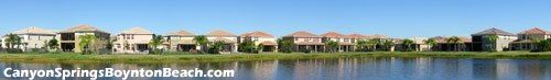 Some of the fine homes within Boynton Beach's Canyon Springs communtiy overlook a fantasic lake view. Imagine relaxing on your patio while looking out to the fountain in the middle of the lake.